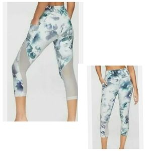 Athleta white floral print legging tight Small